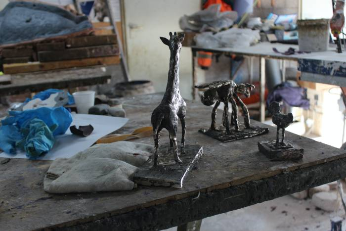 Giraf in de gieterij
